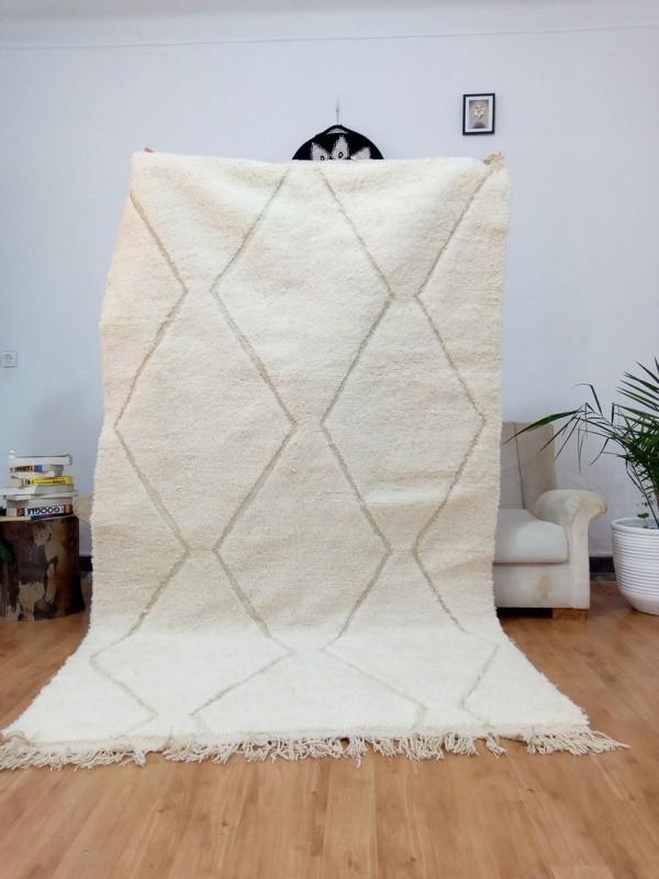 Beni Ourain Style - Hand Woven Wool Rug - Uni Faded Carpet - Tribal Rug  - 264X148cm