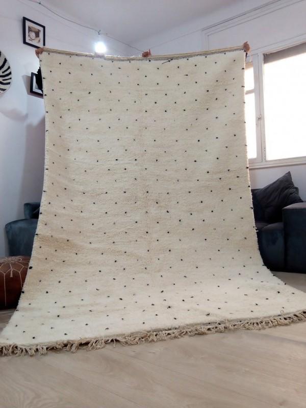 Moroccan Beni Ourain Tribal - Handmade Rug - Dots design - Full Wool - 314 X 196cm