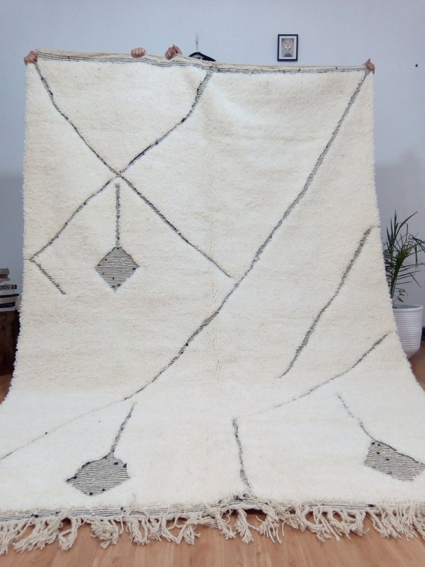 Berber Rug ٍStyle  beni ourain  - thick lines design  - Full Wool - 310 X 209cm
