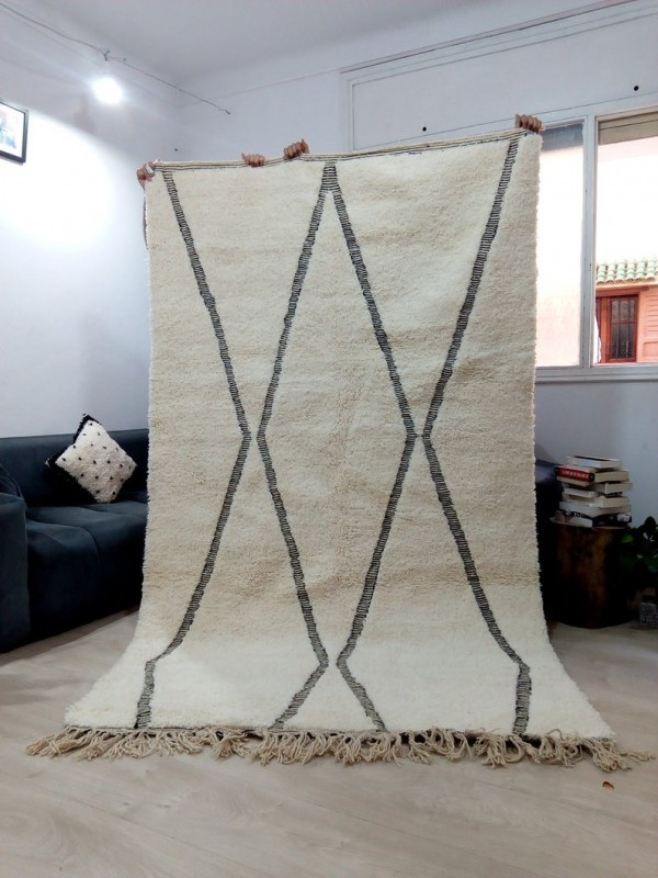 Beni Ourain Style - Thick Lines - Tribal Rug - Shag Pile  - Wool - 263 X 155cm