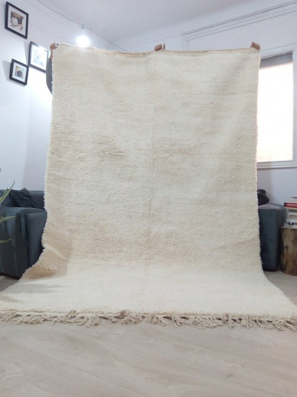 Moroccan Beni Ourain style - Handwoven Rug - Uni ivory carpet  - Wool - 305 X 204 CM
