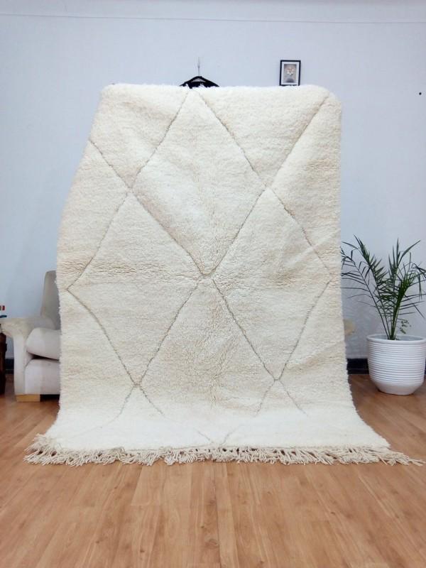 Berber Carpet -Uni Color - Moroccan Rug - Wool - Beni Ourain Style - 237 X 168cm