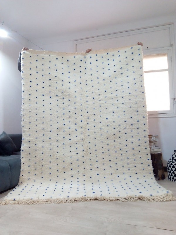 Moroccan hand woven blue dotty rug - Beni Ourain Style- Full Wool - 265 X 196cm