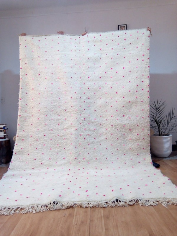 Moroccan hand woven Beni Ourain Style - Hand Woven Wool Rug - Pink Dots - 297X194cm