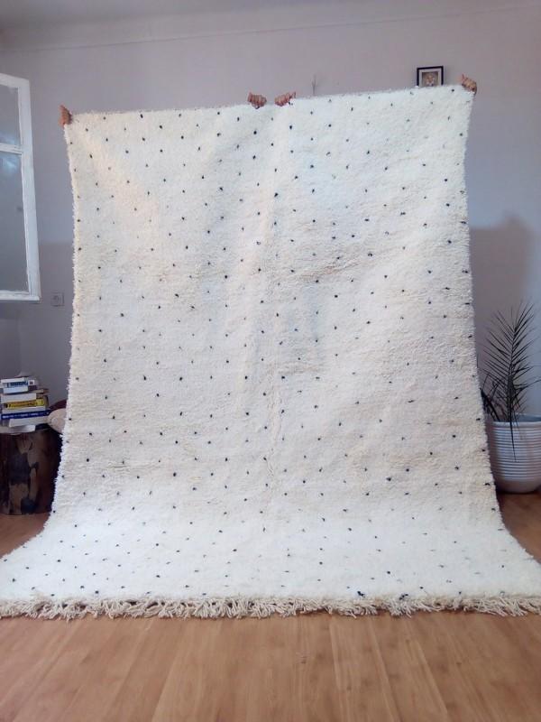 Berber Carpet - Moroccan Dot Rug - Wool - Beni Ourain Style - 280 X 190cm