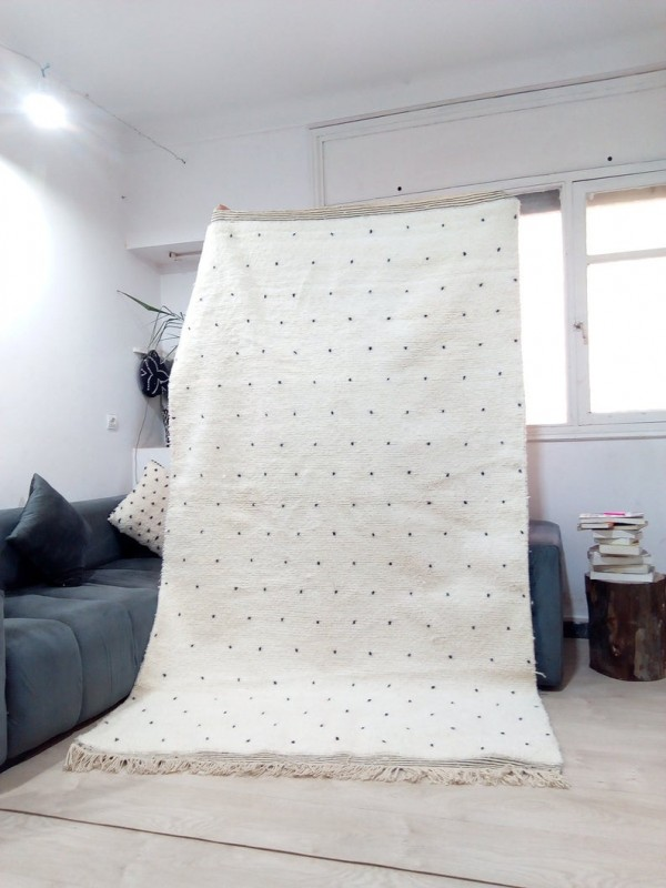 Moroccan hand woven dot rug - Beni Ourain Style- Full Wool - 260 X 159cm