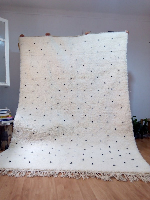 Moroccan hand woven dot rug - Beni Ourain Style- Full Wool - 305 X 203cm