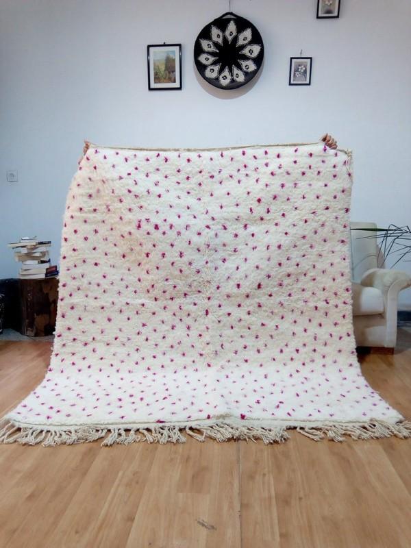 Berber Carpet - Moroccan Bit dark pinkDots Rug - Wool - Beni Ourain Style - 182 X 158cm