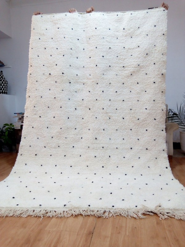 Berber Carpet - Moroccan Dot Rug - Wool - Beni Ourain Style - 267 X 169cm