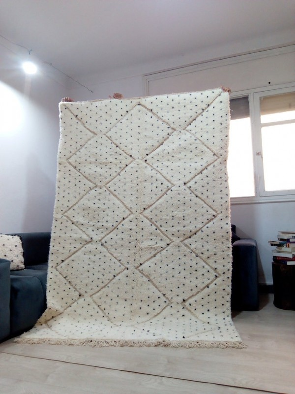 Moroccan hand woven dot rug - Beni Ourain Style- Full Wool - 240 X 156cm