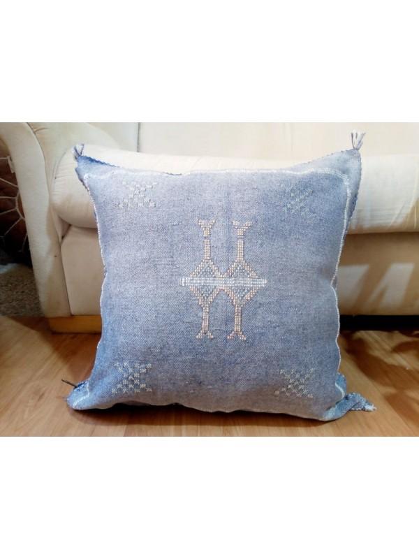 Cactus Sabra silk  Moroccan sabra CACTUS Silk pillow - Blue Jeans cushion unstuffed  - 47 X 47 CM