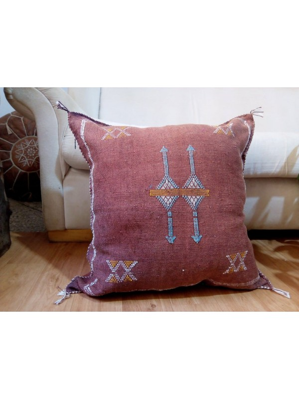 Cactus Sabra silk  Moroccan sabra CACTUS Silk pillow - Brown Cactus silk cushion unstuffed  - 50 X 50 CM