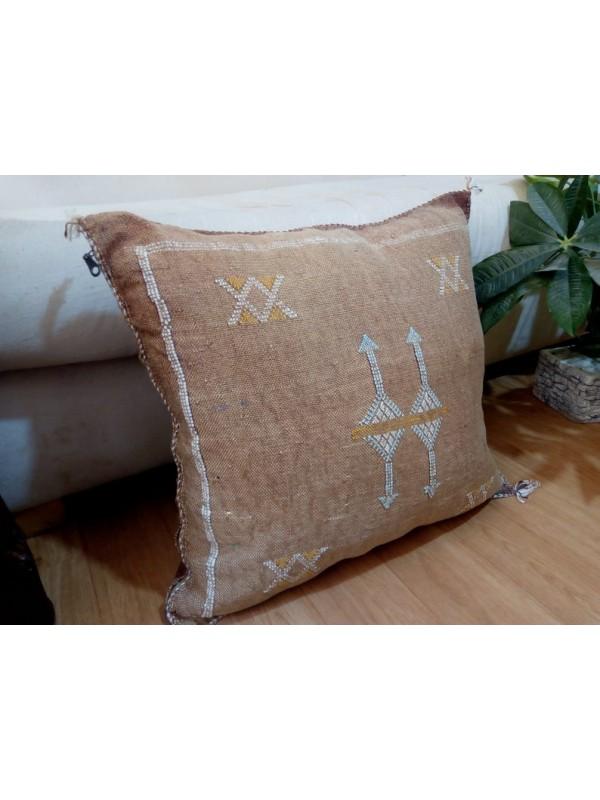 Cactus Sabra silk  Moroccan sabra CACTUS Silk pillow - Light Brown cushion unstuffed  - 50 X 48 CM