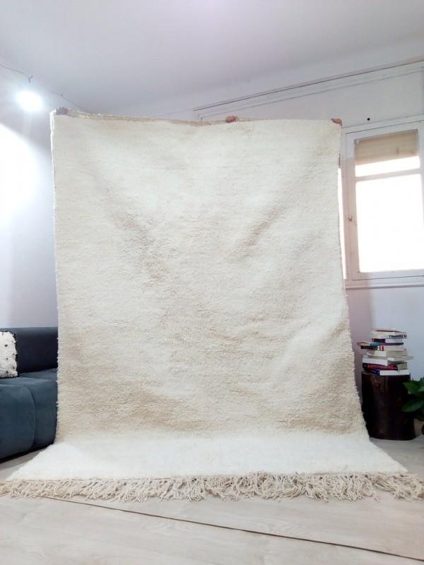 Moroccan Beni Ourain Living Room Rug - Hand Woven Carpet - Uni - Full Wool - 300 X 195cm
