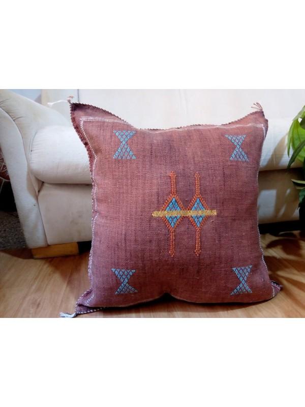Cactus Sabra silk  Moroccan sabra CACTUS Silk pillow - Brown Cactus silk cushion unstuffed  - 49 X 51 CM