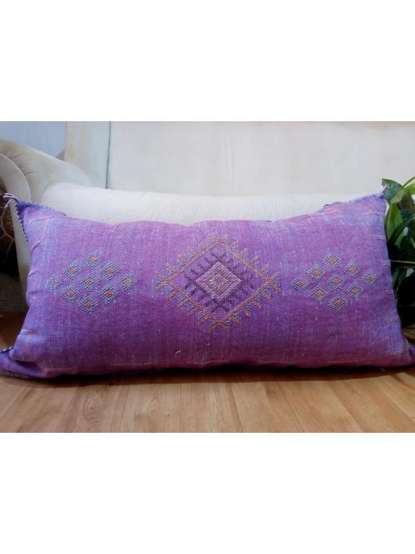 LUMBAR Sabra silk large Moroccan sabra CACTUS cushion 93x49 CM - purple pillow  - unstuffed