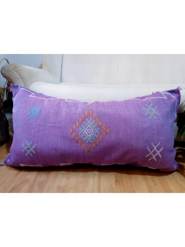 Sabra silk large Moroccan sabra CACTUS cushion - purple pillow  - unstuffed - 93x49 CM