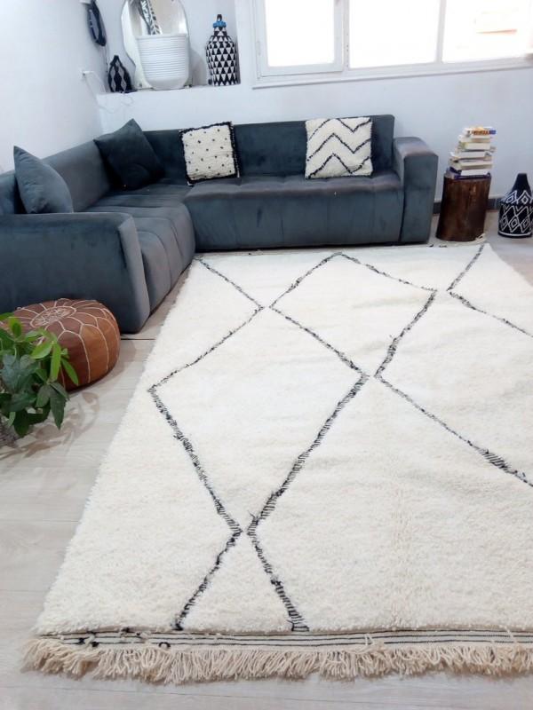Beautiful Berber carpet - Beni Ourain Tribal Rug Style- Shag Pile - Wool - 290 X 197cm