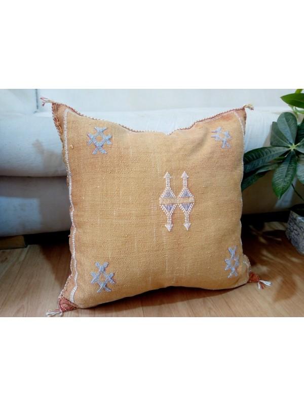 Cactus Sabra silk  Moroccan sabra CACTUS Silk pillow - Orange cushion unstuffed  - 52 X 47 CM