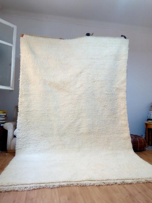 Moroccan Beni Ourain Living Room Rug - Hand Woven Carpet - Uni - Full Wool - 310 X 200cm