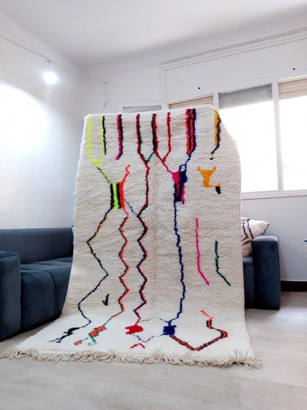 Azilal Style - Hand woven Moroccan Wool Rug - handmade Moroccan  Carpet - 255x148