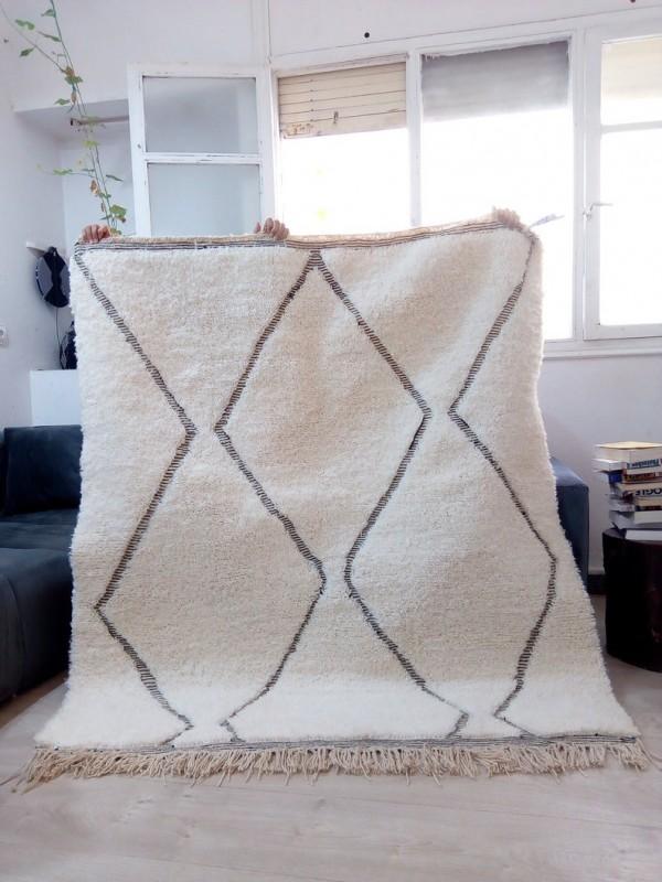 Moroccan carpet - Beni Ourain Style - Tribal Rug  - Full Wool - 182 X 153cm