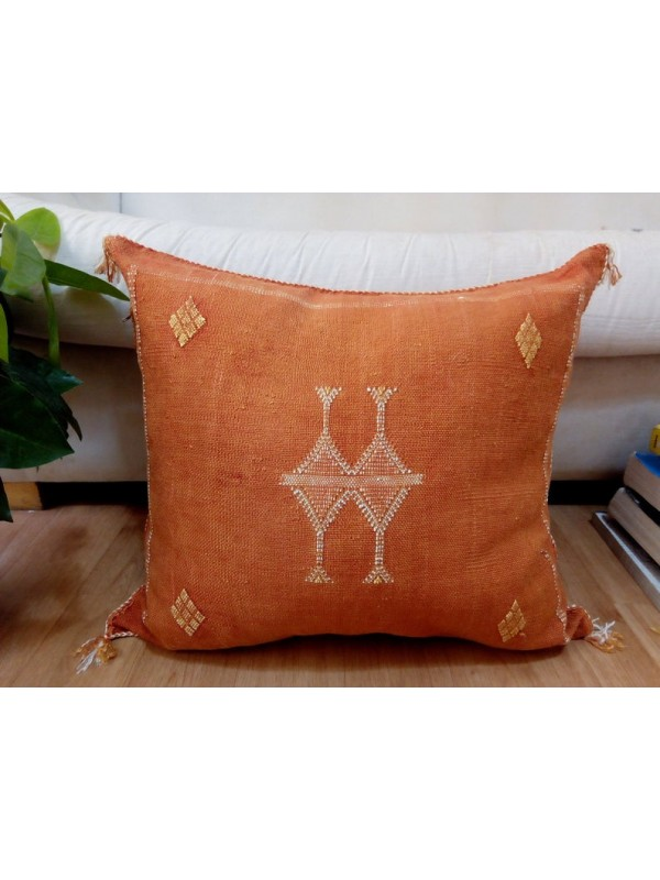Cactus Sabra silk  Moroccan sabra CACTUS Silk pillow - Orange Cactus silk cushion unstuffed  - 54 X 47 CM