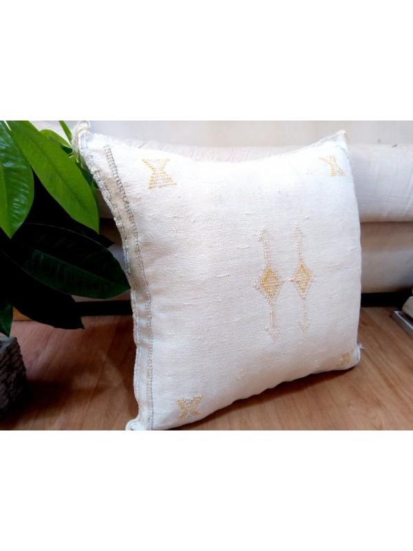 Cactus Sabra silk  Moroccan sabra CACTUS Silk pillow - White Cactus silk cushion unstuffed 49x48 CM