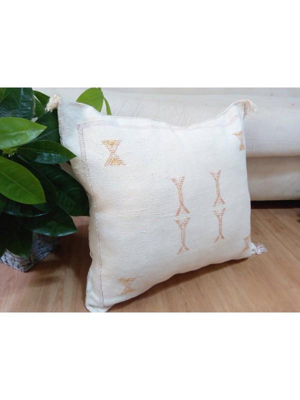 Cactus Sabra silk  Moroccan sabra CACTUS Silk pillow - White Cactus silk cushion unstuffed 55x47 CM