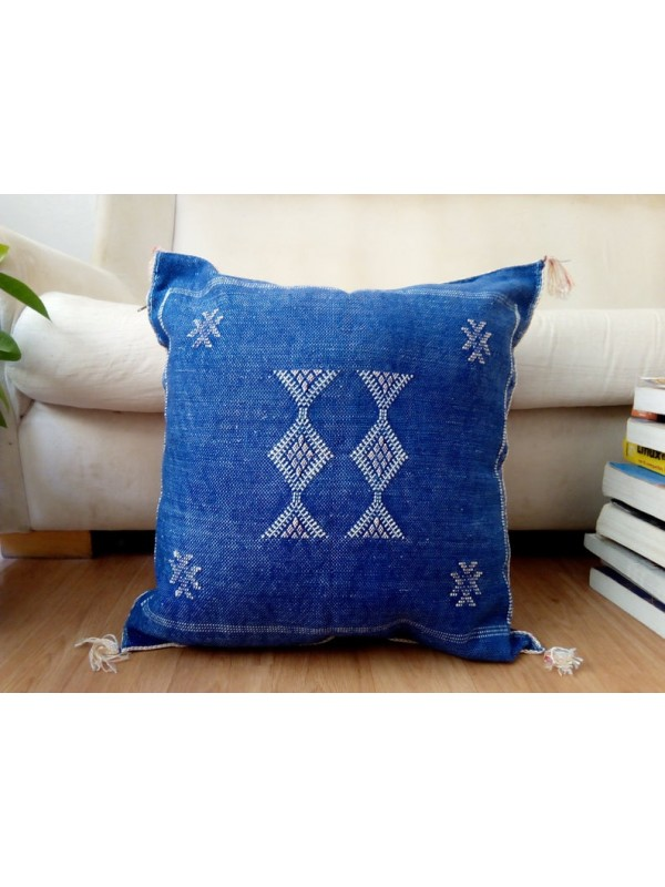 Cactus Sabra silk  Moroccan sabra CACTUS Silk pillow - Blue Jeans cushion unstuffed  - 50 X 50 CM