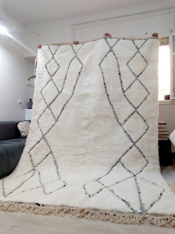 Moroccan Rug - Beni Ourain Tribal Style - Berber Design Rug - Full Wool - 310 X 200cm