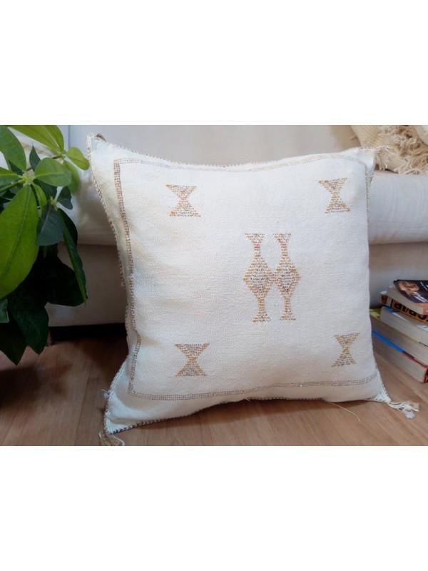 Cactus Sabra silk  Moroccan sabra CACTUS Silk pillow - White Cactus silk cushion unstuffed 54x50 CM