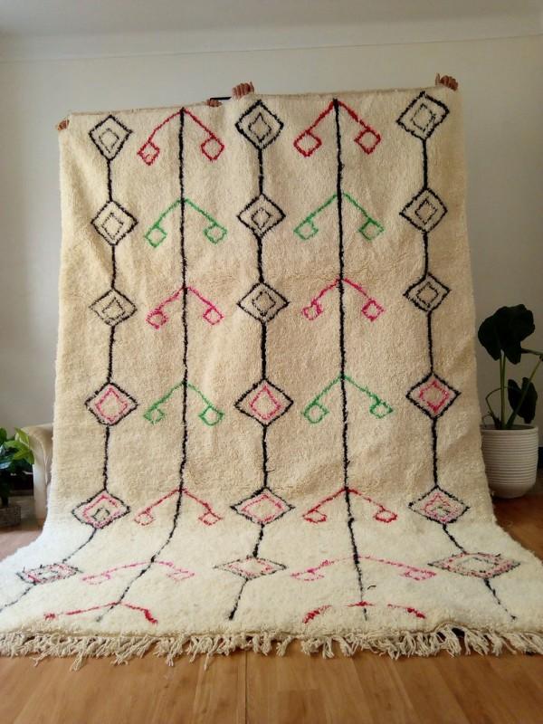 Berber rug - colored rug - handmade Moroccan Berber Carpet - 310x205 CM