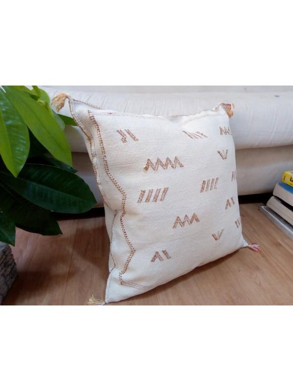 Cactus Sabra silk  Moroccan sabra CACTUS Silk pillow - White Cactus silk cushion unstuffed 45x45 CM