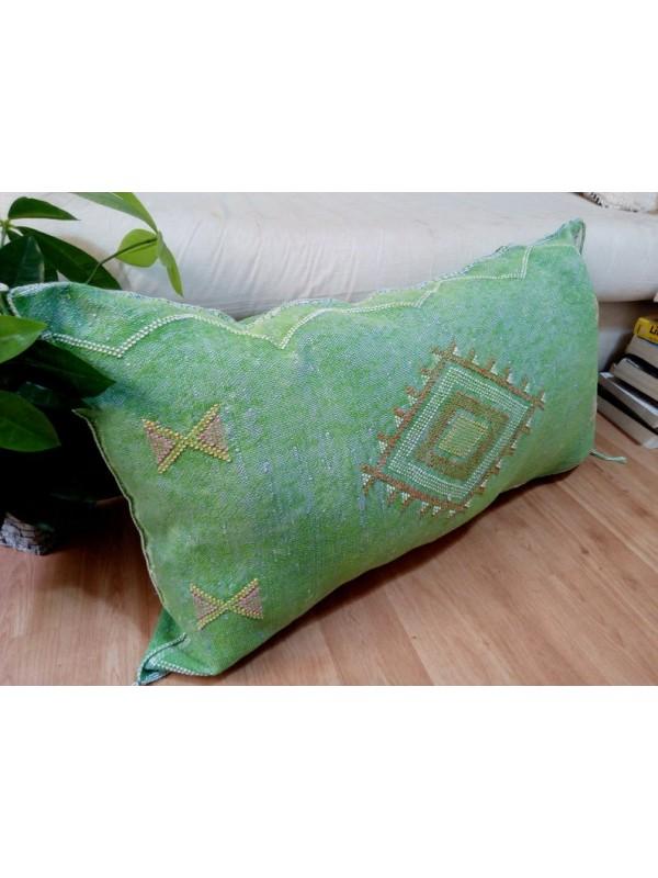 LUMBAR Sabra silk large Moroccan sabra CACTUS Silk pillow - Dark Seaweed pillow unstuffed