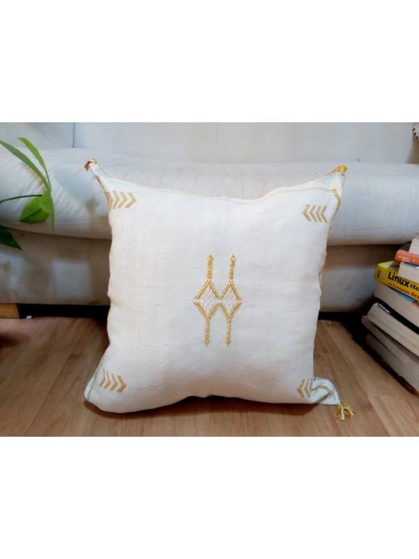 Cactus Sabra silk  Moroccan sabra CACTUS Silk pillow - White Cactus silk cushion unstuffed 50x49 CM