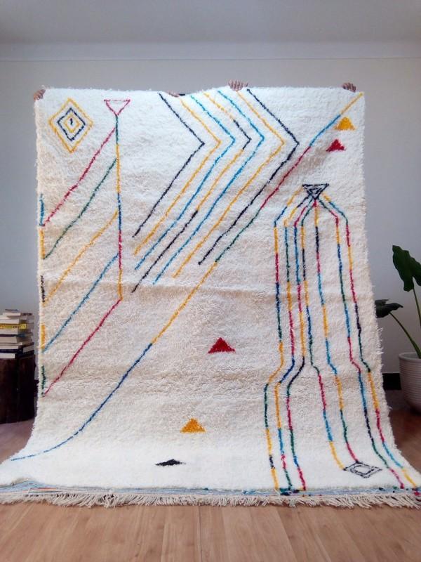 Berber rug - colored rug - handmade Moroccan Berber Carpet - 250x182 CM