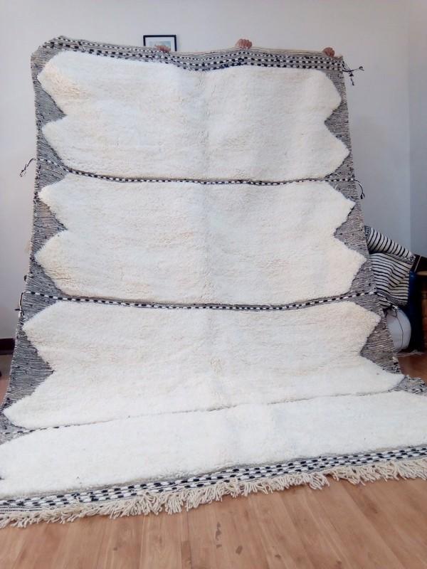 Moroccan beni ourain style - nice Design rug  - berber carpet - full  wool - 315 X 206cm