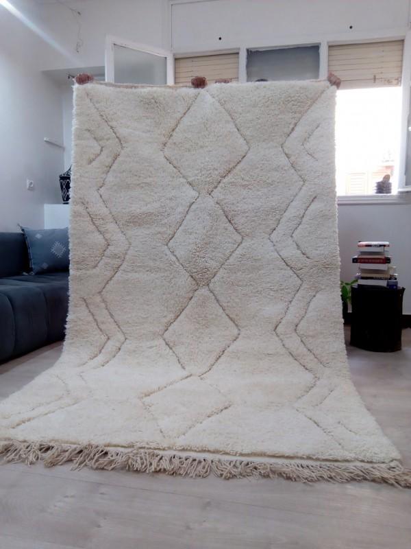 Beni Ourain Style - Hand Woven Wool Rug - Uni Faded Carpet - Tribal Rug  - 255X155cm