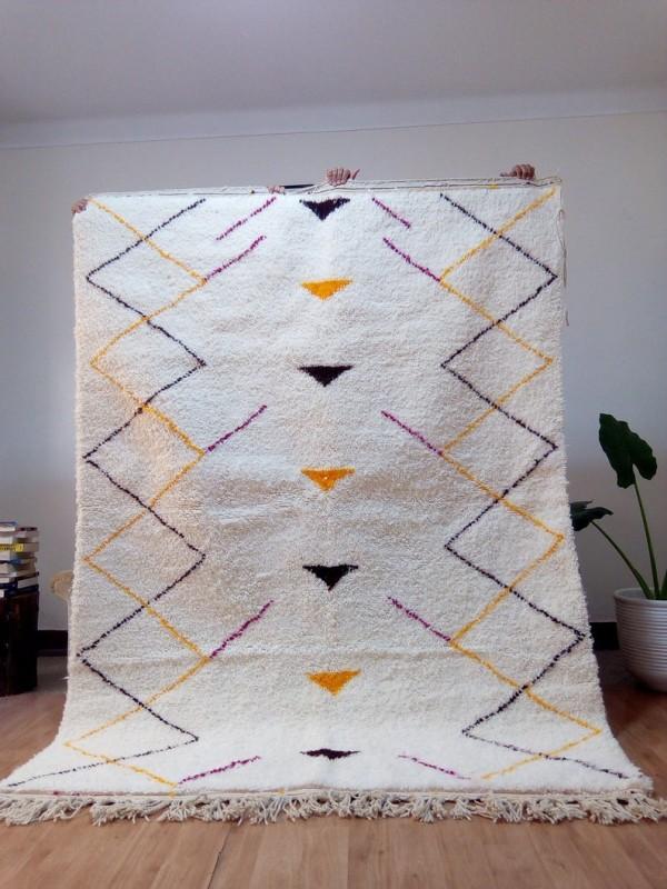 Berber rug - pink black and orange rug - handmade Moroccan Berber Carpet - 246x178 CM