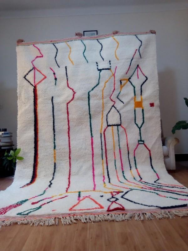 Berber rug - colored rug - handmade Moroccan Berber Carpet - 300x200 CM