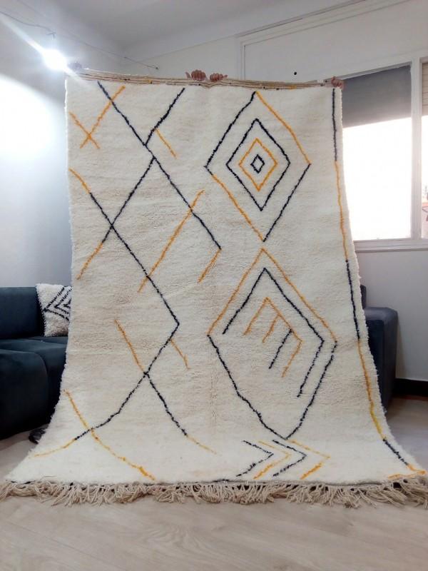 Berber rug - Orange Black Design -  handmade Moroccan Berber Carpet - 274 x 173 CM