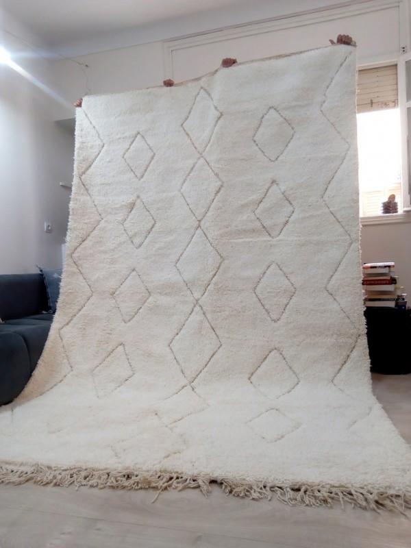 Moroccan Beni Ourain ٍStyle - Tribal Rug Berber - Hand Woven Wool - 305 X 200CM