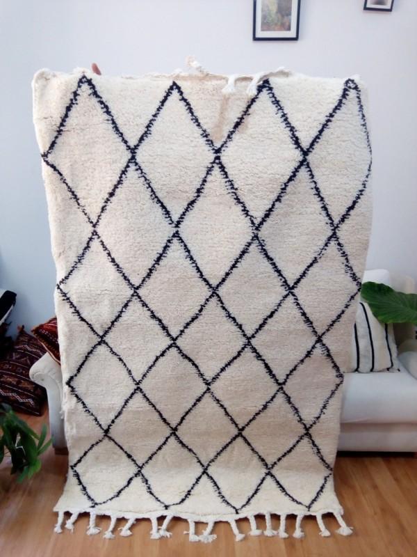 Moroccan Beni Ourain Tribal Rug - Shag Pile - Full Wool - 180 X 120cm