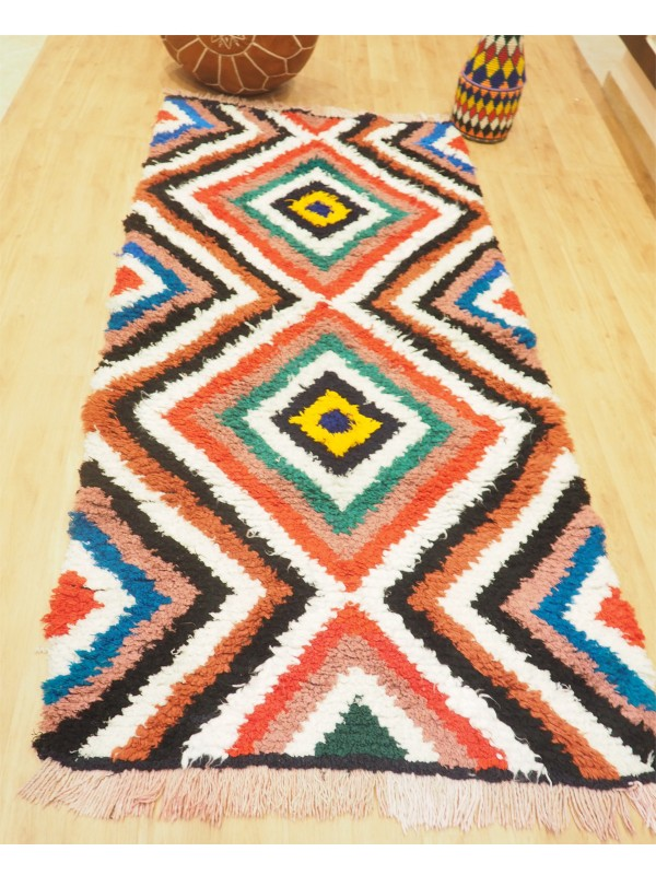 Vintage Moroccan Boucherouite (Boucheroute) Rug - Authentic rugs - Natural Wool - 210 X 97cm