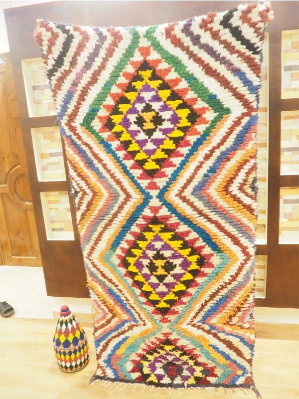 Berber Moroccan Boucherouite (Boucheroute) Rug - Authentic rugs - Natural Wool - 200 X 100 cm