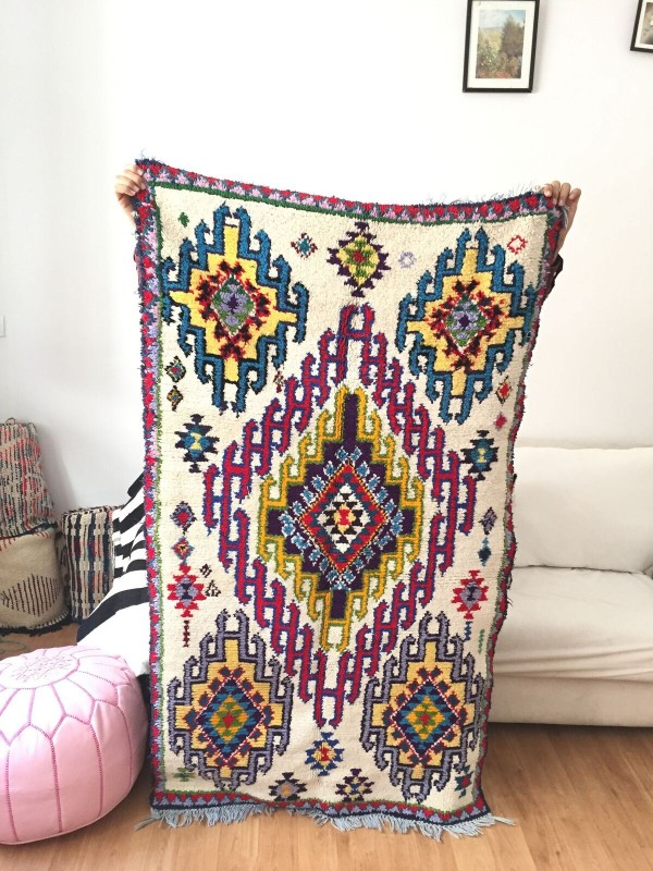 Vintage Moroccan Boucherouite (Boucheroute) Rug - Authentic rugs - Natural Wool - 170x95