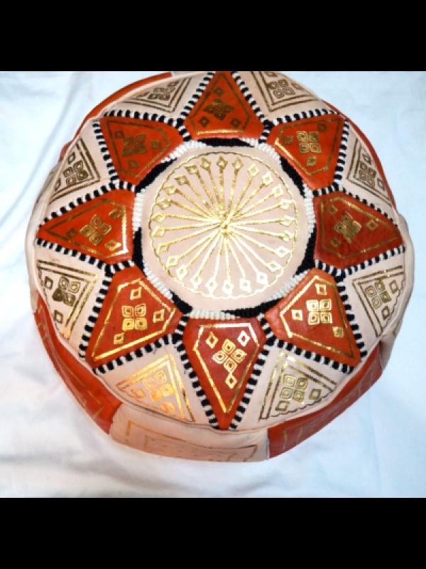 Moroccan orange handmade pouf( (ottoman) unstuffed