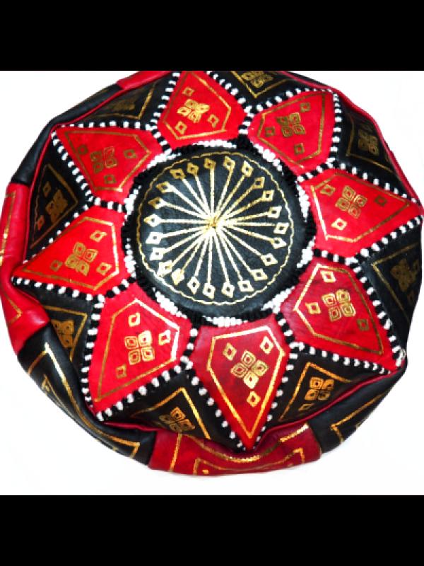 Moroccan red handmade pouf( (ottoman) unstuffed
