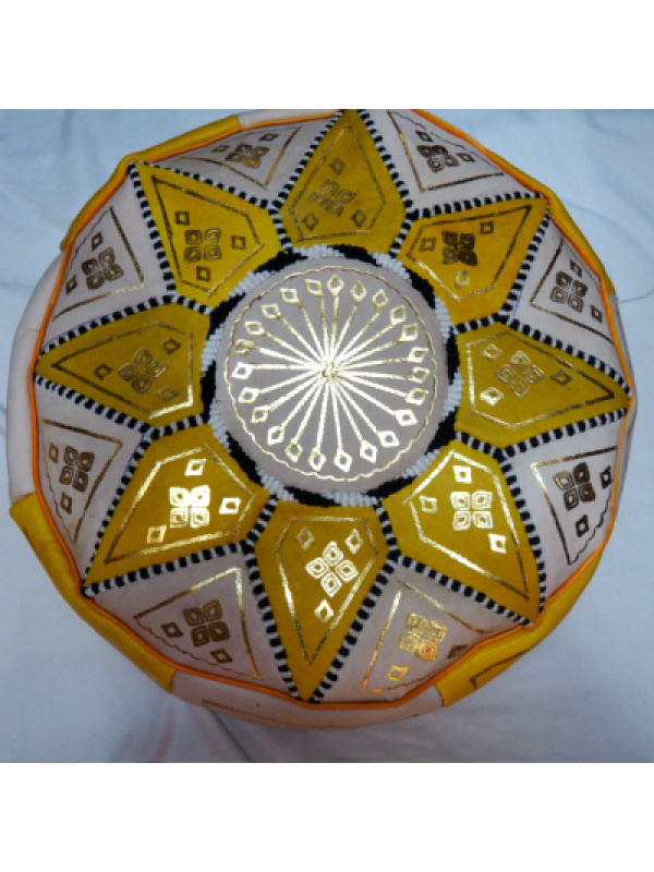 Moroccan yellow handmade pouf( (ottoman) unstuffed